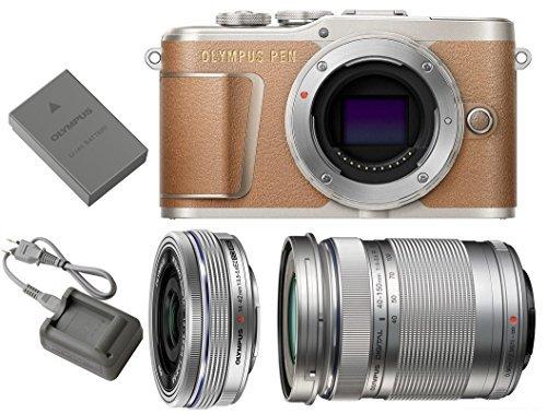 Brown Digital Camera - Olympus Pen E-PL9 Mirrorless Micro Four Thirds Digital Camera [Brown] + M.Zuiko Digital ED 14-42mm f/3.5-5.6 EZ Lens (Silver) + M.Zuiko Digital ED 40-150mm f/4.0-5.6 R Lens (Silver)