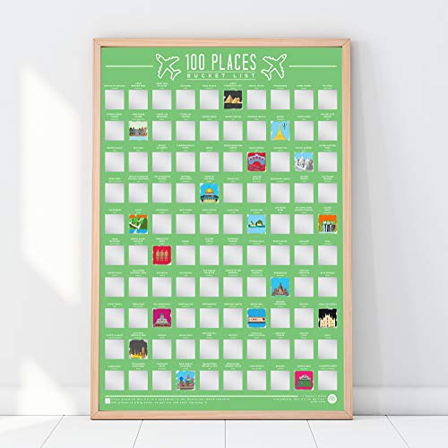 Gift Republic 100 Places Scratch Off Bucket List Poster