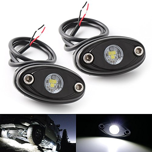 LEDMIRCY LED Rock Lights White Kit for JEEP Off Road Truck Auto Car Boat ATV SUV Waterproof High Power Underbody Glow Neon Trail Rig Lights Underglow Lights Shockproof(Pack of 2,White)