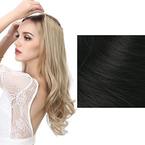 Price comparison product image SARLA Halo Synthetic Hairpieces Flip in Women Hair Extension Natural Wave Halo Hair Extensions M01 (1B Jet Black)