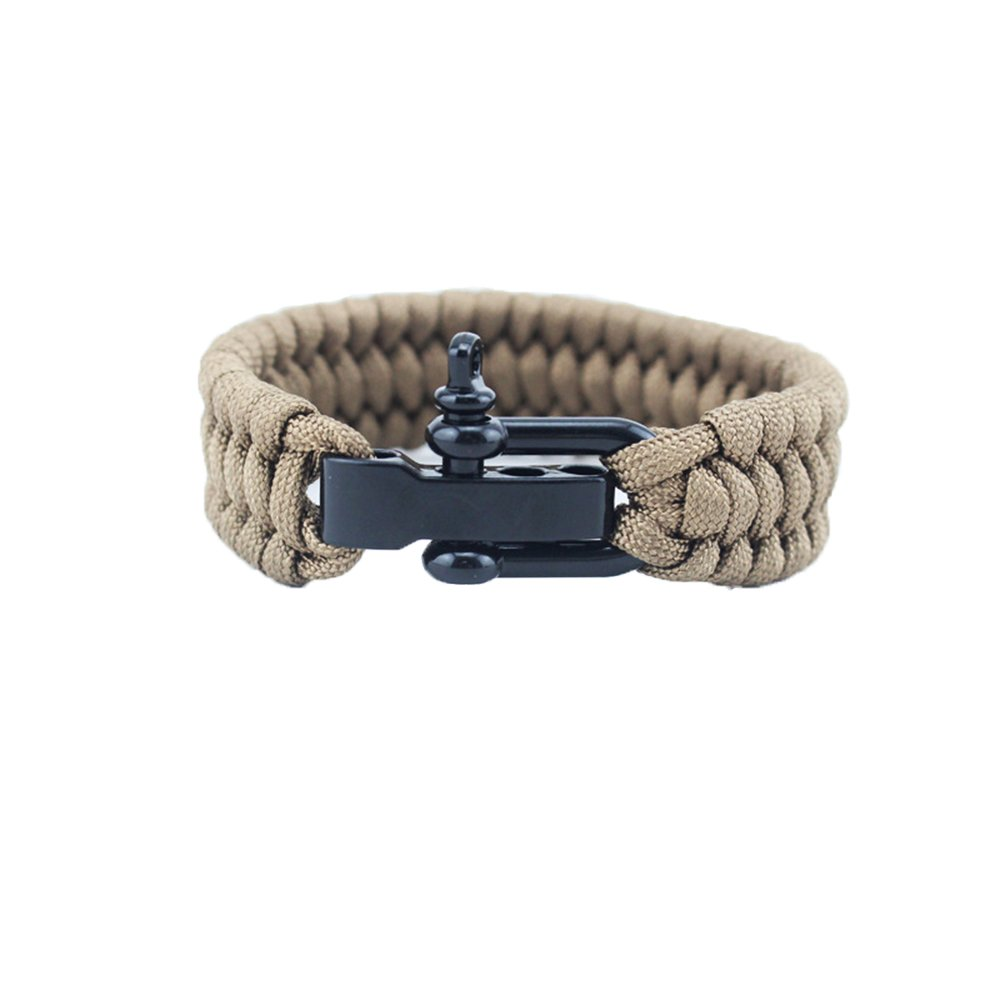 Outdoor Sports Bracelet, Casual 550 lb Paracord Survival Wristband Wrist Chain with 3 Size Slight Adjustment Stainless Steel Black Shackle for Camping Hiking Gym MansWill
