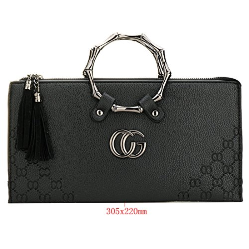Handbag Clutch Envelope Evening Orange Womens Fashion Metal Flap Leather EROUGE qt6Tv7
