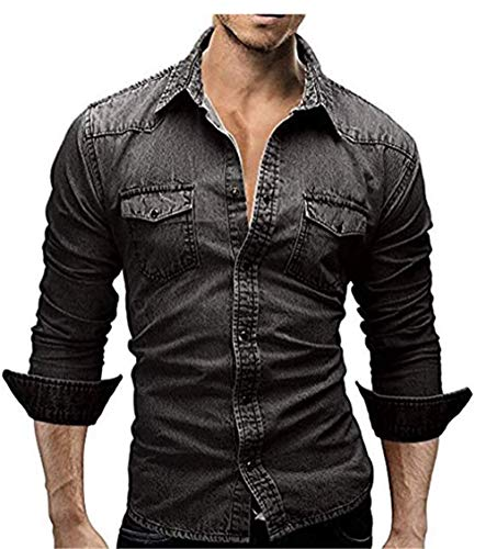 Men's Casual Slim Fit Button Down Dress Shirt Long Sleeve Denim Work Shirts with Pocket (M, Black)