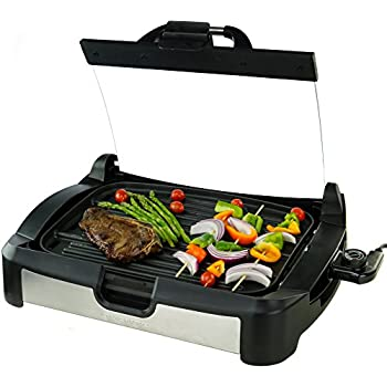 Ovente Reversible Electric Grill And Griddle With Heat Tempered Glass Lid,  Indoor And Outdoor Grilling