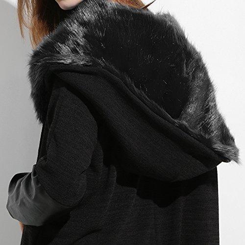 sintética mujeres capa AIMEE7 de costura de tamaño piel las de de Mujer capucha abrigo con Punto más panel Chaqueta larga Blusa del la de sólida chaqueta Negro manga qwWaS8Fxf