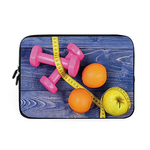 (Fitness Laptop Sleeve Bag,Neoprene Sleeve Case/Womens Dumbbells Apples Oranges Measuring Tape Eat Clean Live Active Theme Objects Decorative/for Apple MacBook Air Samsung Google Acer HP DELL)