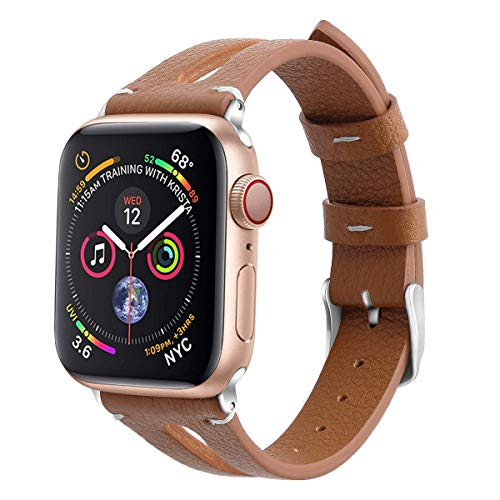 (KINGLOO Slim Leather Compatible Apple Watch Band 38/40mm & 42/44mm iWatch Womens Sport Thin Strap Wristband Replacement Leisure Cool Bracelet Series 4 3 2 1 (38mm/40mm, Brown))