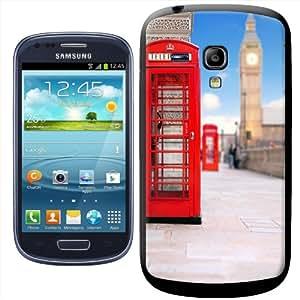 Fancy A Snuggle - Carcasa rígida para Samsung Galaxy S3 Mini i8190, diseño de cabina telefónica y Big Ben
