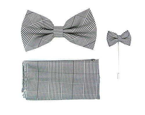 Men's 3pc Bow Tie Handkerchief & Lapel Set (Plaid Grey) - Exclusive Silk Bow Tie