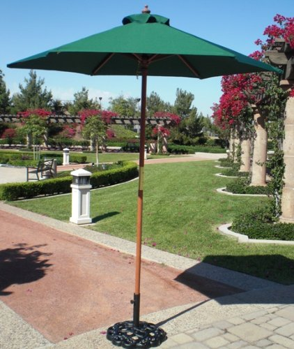 6.5' Wood Market Umbrella - Hunter Green