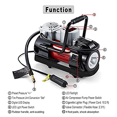 NoOne Digital Tire Inflator,12V DC Portable Air Compressor Pump with Led Light for Car/Bicycle/Motorcycle/Ball/Balloon/Swimming Ring 180W 120PSI: Automotive