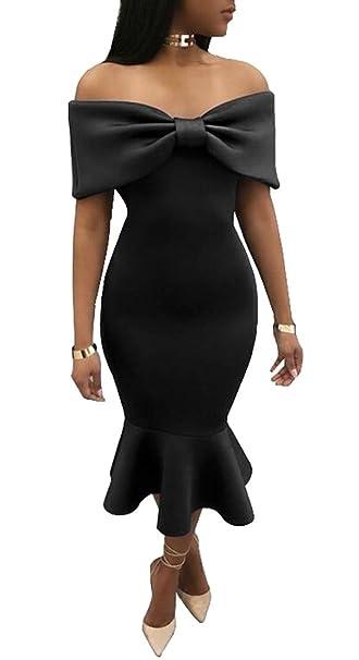 1af485d0f76 Generic Womens Fashion Off Shoulder Mermaid Bow Tie Club Bodycon Midi Dress  Black XXS