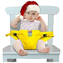 The Washable Portable Travel High Chair Booster Baby Seat with straps Toddler Safety Harness Baby feeding the strap (6 Color) (Yellow)