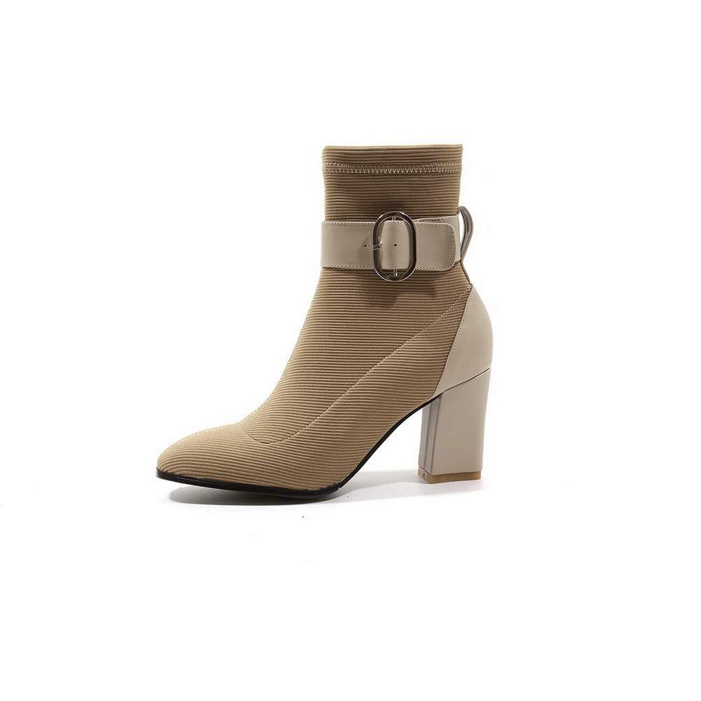 AdeeSu Womens Metal Buckles Chunky Heels Imitated Suede Boots SXE04250