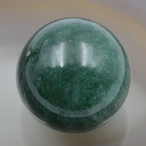 (AD Beads Natural Gemstone 30mm Round Ball Crystal Healing Sphere Massage Rock Stones (Green Jasper))