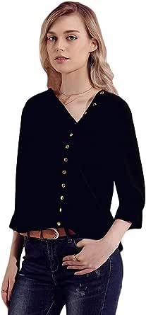 Blusa de Gasa para Mujer con Cuello Diagonal, Botones ...