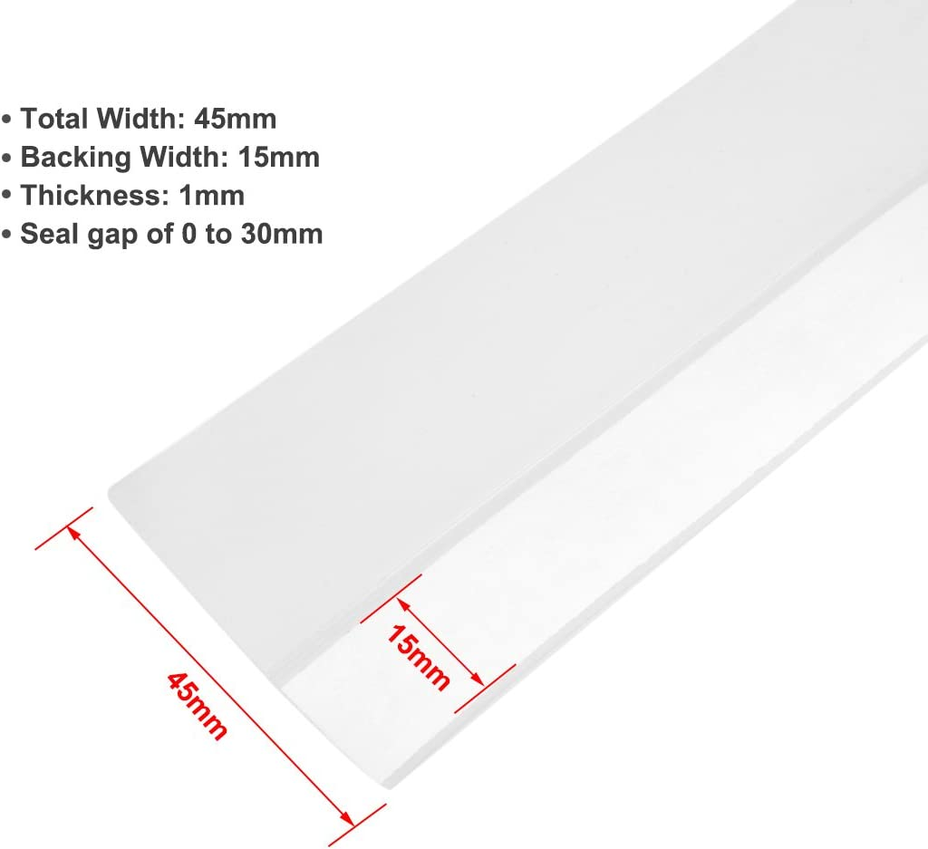 uxcell 1-3//4 inches 45mm Width 4M Long Weather Stripping Frameless Door Bottom Seal Clear