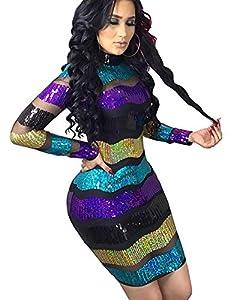 High Neck Sequin Sheer Mesh Dress for Women Black Purple Colorful Striped Glitter Tiered Midi Dress