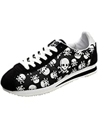 Womens Skull Lace-Up Walking Running Casual Fashion Sneakers