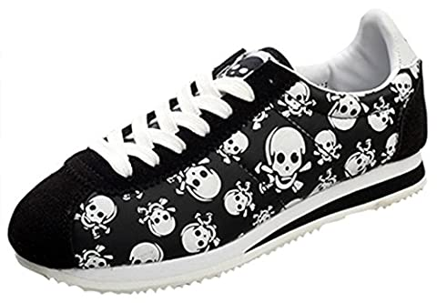 Serene Womens Retro Low-Top Suede Skull Lace-Up Walking Running Shoes Casual Fashion Sneakers (7B(M)US, (Bo Street Runners)