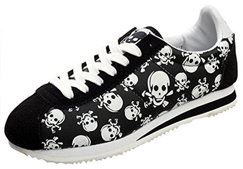 Serene Womens Retro Low-Top Suede Skull Lace-up Walking Running Shoes Casual Fashion Sneakers (9.5B(M) US, (Womens Lowest Rise)