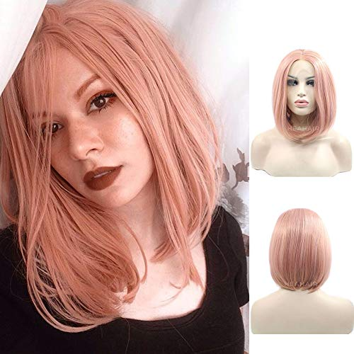 HEAHAIR Peach Pink Bob Straight Synthetic Lace Front Wigs Short Lace Front Wigs HS4005 (Rose Gold)