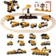 Ohuhu Magic Wooden Railway Vehicle Playset, 230 Pieces Race Car Flexible Tracks Play Set