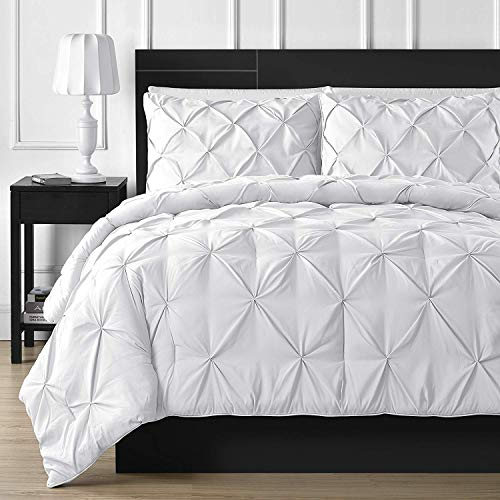 Comfy Bedding Double Needle Durable Stitching 3-Piece Pinch Pleat Comforter Set All Season Pintuck Style King White (Gray Comforter Tufted)