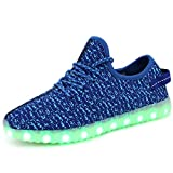 FASHOE Colors Breathable LED Light Up Shoes Flashing Sneakers for Kids Boys Girls-3001-Blue-36