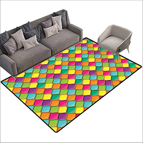 - Door Rug Increase Geometric Vivid Colored Stained Glass Style Pattern Wavy Lines Curves Oval Shapes Modern Breathability W6' x L8'10 Multicolor