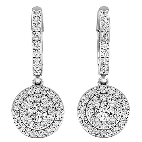 Dazzlingrock Collection 1.00 Carat (ctw) 14K Round White Diamond Ladies Halo Style Dangling Earrings 1 CT, White Gold