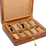 Bello Collezioni - Via Luciano Luxury Briarwood Men's/Women's 10 Watch Box. Made in Italy