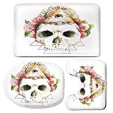 3 Piece Bath Mat Rug Set,Skull-Decorations,Bathroom Non-Slip Floor Mat,Traditional-Mexican-Sugar-with-Sacred-Eye-Sign-and-Geometric-Triangle-Figures,Pedestal Rug + Lid Toilet Cover + Bath Mat,Multi