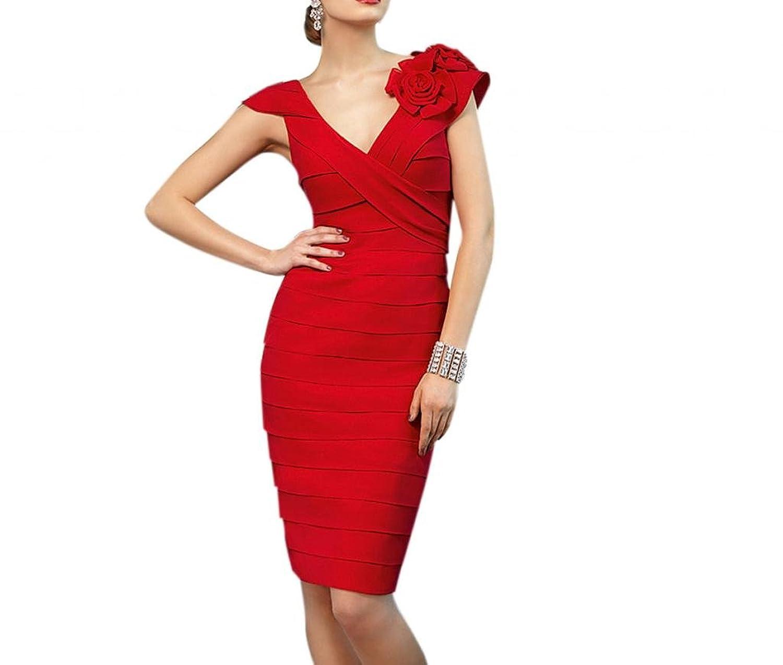 Dearta Women's Sheath V-Neck Knee-Length Chiffon Social Ocassion Dresses
