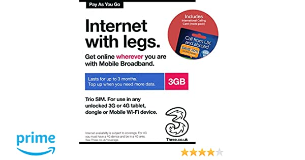 Three UK PAYG Trio Data SIM Card Mobile Broadband -3GB + FREE ...