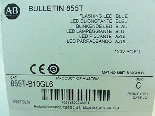 Allen-Bradley 855T-B10GL6 Flashing LED Stack Light, Blue, 120V