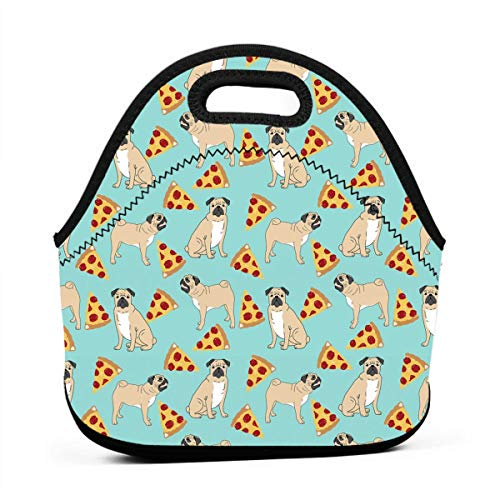 (Women Men Kids Funny Vector Dogs Pug Puppies Pattern Pizza Lunch Bags Insulated Zip Thermal Cooler Bag Portable Meal Package Lunch Box Package Picnic Outdoor Travel Fashionable Handbag Pouch)