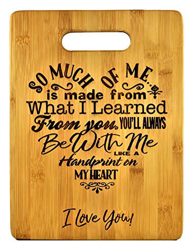 (Mothers Present ~ Special Love Heart Poem Bamboo Cutting Board Mom Present Mother Day Mom Birthday Holiday Engraved Side For Decor Display or Hanging Reverse Side For Usage (8.75x11.5 Rectangle))