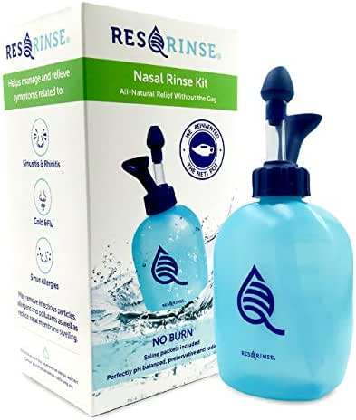 Res-Q-Rinse by SinOptim - Sinus Rinse Kit, Clean Your Nose, Fight Allergies and Colds, and Use as a Daily Nasal Rinse Solution - Kit w/ 3 Salines