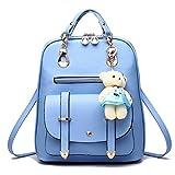 Hynbase Women's Summer Cute Korean Leather Student Bag Backpack Shoulder Bag Blue