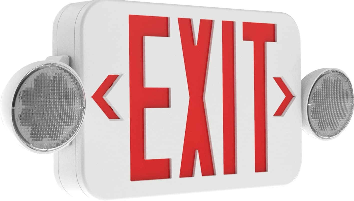 Hubbell Lighting CCRRC Emergency Exit Sign, Remote Compatible Combination Emergency Light and Exit Sign for Stair-Wells, Hallways, Offices, 2 Fully Adjustable LED Heads, White with Red EXIT Letters