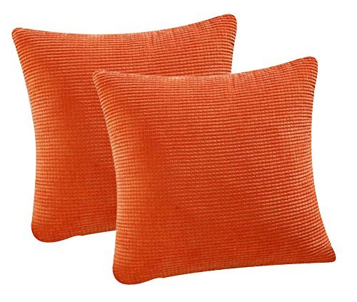 (Pack of 2 Throw Pillow Covers (in 8 Colors and 7 Sizes) Comfortable Soft Corduroy Corn Striped Pillow Case (18