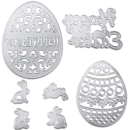 (Norme 7 Pieces Happy Easter Metal Cutting Dies Easter Eggs Bunny Rabbit Embossing Stencil Scrapbooking Carbon Steel Templates for DIY Cards)