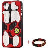 EHIPI Shoes Showcase Jordan iPhone 5S CASE,Michael Air Jordan Apple Iphone 5S Case Cover 3d Sneaker Sole Rubber,Rubber Feels Looks like the Sneaker Sole Thin For Apple Iphone 5S Case (Red/White)