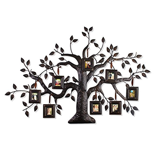 - Joveco Brown Black Decorative Collage Family Birds Tree Bronze Iron Metal Wall Hanging Collage Picture Photo Frame, 8-Opening, 2x2.5