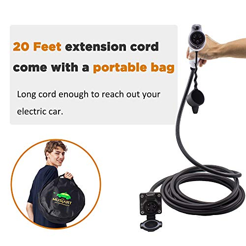 MUSTART 32 Amp 20 Ft J1772 Extension Cord for EV Charger Electric Vehicle Charging Stations by MUSTART (Image #1)