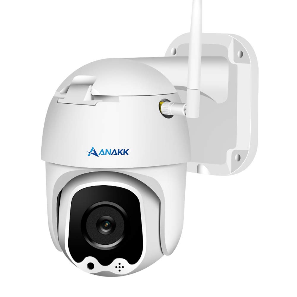 Anakk Wireless WiFi Security Camera 1080P Pan Tilt Indoor Outdoor IP66 Waterproof 2 Way Audio Night Vision Remote View Motion Detection Alert 32G SD Card Pre-Installed for Home Business
