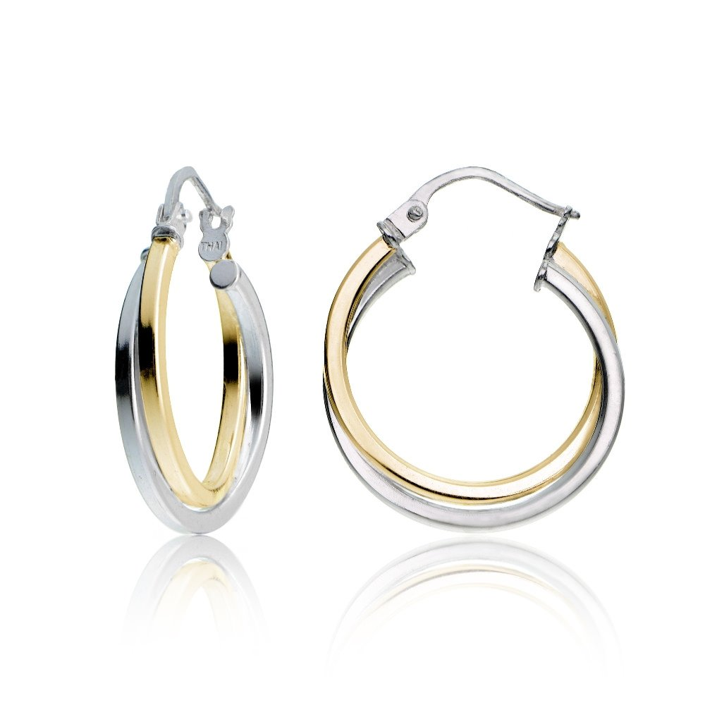 Hoops & Loops Yellow Gold Flash Sterling Silver Two-Tone Intertwining Square-Tube Polished Hoop Earrings, 20mm