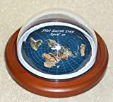 Flat Earth Day - Commemorative Dome Display map Model - Wood Base