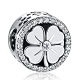 ANGELFLY White Good Luck Four Leaf Clover Charm 925 Sterling Silver Heart Petals Lucky Clover Charms Travel Back to School Birthday Gifts for Daughter Sister Teen Girls Student
